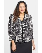 Ellen Tracy Print Double Crepe Jacket - Lyst
