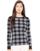 Lauren by Ralph Lauren Plaid Zip Shoulder Shirt - Lyst