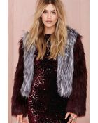 Nasty Gal Glamorous Double Trouble Faux Fur Jacket - Heather Gray - Lyst