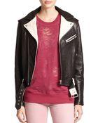 IRO Wamiel Two-Tone Leather Motorcycle Jacket - Lyst