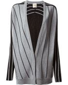 Nude Striped Contrast Panelled Cardigan - Lyst