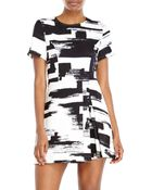 Re:named Re:Named Printed Side Pleat Dress - Lyst