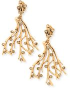 Oscar de la Renta Crystal Vine Clip-On Earrings - Lyst