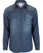 River Island Blue Denim Studded Shirt - Lyst