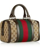 Gucci Vintage Web Small Monogrammed Canvas Tote - Lyst