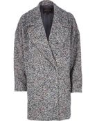 River Island Black Tweed Oversized Coat - Lyst