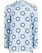 Matthew Williamson Polka Star Print Roll Neck Silk Shirt - Lyst