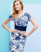Theia By Don O'neill Short Sleeve Floral Print Cocktail Dress Whiteblueblack - Lyst