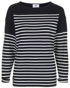 Topshop Navy Breton Stripe Tee By Armor Lux - Lyst