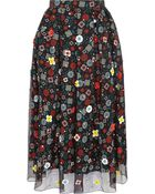 Holly Fulton Embellished Floral-Print Silk Crepe De Chine Skirt - Lyst