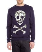 Blood Brother Navy Skull Print Sweatshirt - Lyst
