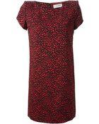Saint Laurent Heart Print Dress - Lyst