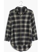 Madewell Flannel Trapeze Shirt In Overcast Plaid - Lyst