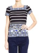 Emilio Pucci Top Half Sleeve Jersey With Lines Print - Lyst