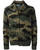 Polo Ralph Lauren Camouflage Knit Cardigan - Lyst