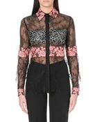 Elie Saab Floral Lace-panel Shirt - Lyst