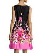 Chetta B Floral-Print Box-Pleated Dress - Lyst