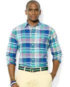 Polo Ralph Lauren Polo Madras Bleecker Pocket Sport Shirt - Lyst
