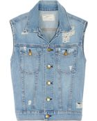 Current/Elliott The Sleeveless Rider Distressed Denim Vest - Lyst