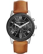 Michael Kors Hawthorne Stainless Steel And Leather Watch - Lyst