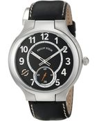 Philip Stein Large Round Watch With Black Dial On Black Stitched Calf Strap - Lyst