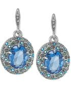 Carolee Silvertone Blue Pavé Crystal Stone Drop Earrings - Lyst