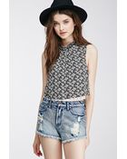 Forever 21 Lace-Trimmed Floral Top - Lyst