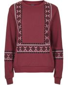 Topshop Embroidered Insert Sweat - Lyst