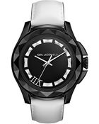Karl Lagerfeld Black White Stainless Steel Pyramid Stud Watch - Lyst