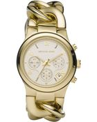 Michael Kors Runway Twist Goldtone Ip Stainless Steel Chronograph Bracelet Watch - Lyst
