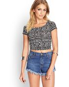Forever 21 Tribal Print Crop Top - Lyst