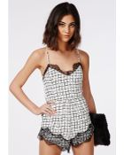 Missguided Grid Print Eyelash Lace Playsuit White - Lyst