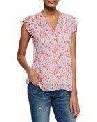 Joie Macy B Floral-Print Silk Top - Lyst