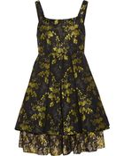 Vera Wang Metallic Floral-Brocade Mini Dress - Lyst