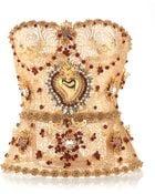 Dolce & Gabbana Golden Filigree Bustier with Allover Embellishment - Lyst