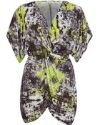 River Island Lime Abstract Print Knot Front Tunic - Lyst