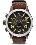 Nixon The 48-20 Chrono Leather Strap Watch, 48Mm - Lyst
