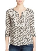 Lucky Brand Lace Trim Printed Top - Lyst