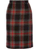 Miu Miu Checked Wool-Tweed Pencil Skirt - Lyst
