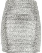 River Island  Metallic Jacquard Mini Skirt - Lyst
