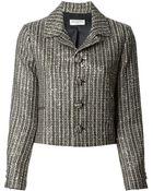 Saint Laurent Cropped Tweed Jacket - Lyst