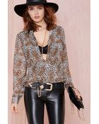 Nasty Gal Fine Print Blouse - Lyst