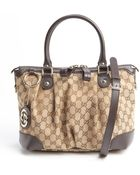 Gucci Brown Leather Accent Gg Canvas Sukey Top Handle Bag - Lyst