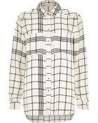 River Island Cream Check Print Shirt - Lyst