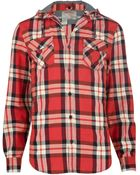 River Island Red Check Hooded Shirt - Lyst