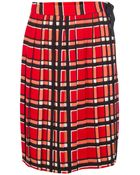 Marc By Marc Jacobs Plaid Pleated Midi Skirt - Lyst