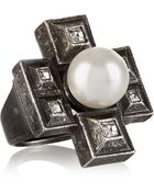 Lanvin Silver-Plated Faux-Pearl And Crystal Ring - Lyst