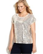 Michael Kors Michael Plus Size Sequined Striped Tee - Lyst