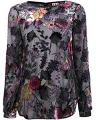 Haute Hippie Floral Velvet Blouse - Lyst