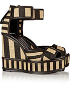Pierre Hardy Striped Basketweave Jute And Leather Wedge Sandals - Lyst